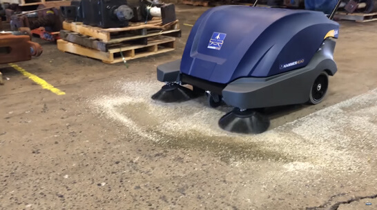 HammerHead 900SX Indoor Walk-Behind Sweeper Demonstration