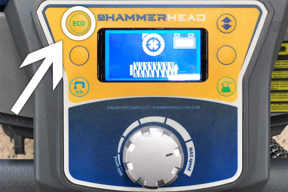 Hammerhead Scrubber's ECO mode on control panel
